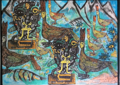 """Bird song"" medium - mixed media acrylic painting -Dimensions 74cmx54cm copy"