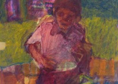 Boy in a Boat, acrylic on canvas 60x60cms