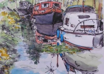 Bredon-Marina---watercolours-&-penink-sketch