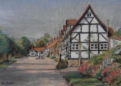 Elmley-Castle,-Main-Street---pastels