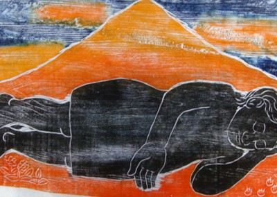 Figure Resting Under a Mountain-Woodcut-Size approx 76 x 118 cm