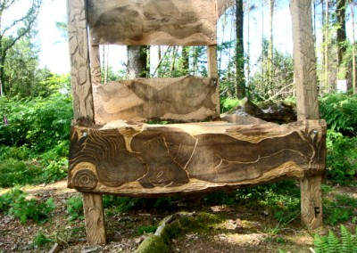 Hand-carved Four Poster Bed (Installation) 200 x 200 x 165cm approx made in oak and elm