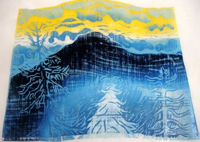 Mountain with Three Pines-Woodcut-Size 54 x 62cm