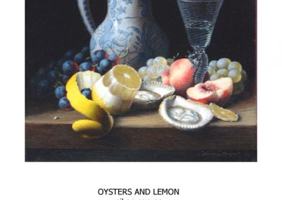 OYSTERS AND LEMONoil on canvas40 x 37 cm