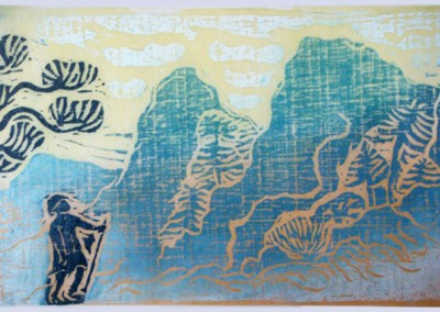 Traveller in the Mountains-Woodcut-Size 43 x 54cm