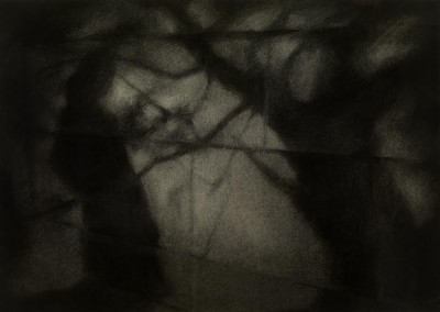 The Wall, 2009, charcoal, 49 x 70 cm